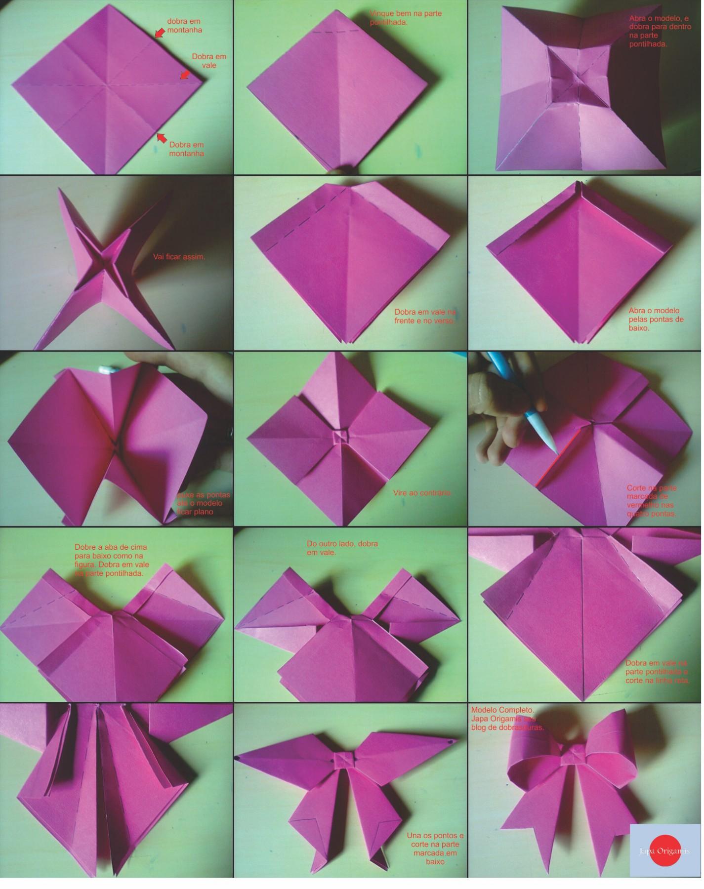 Adesivo Delineador Agustin ~ Laço de origami Passo a Passo ~ Japa Origamis