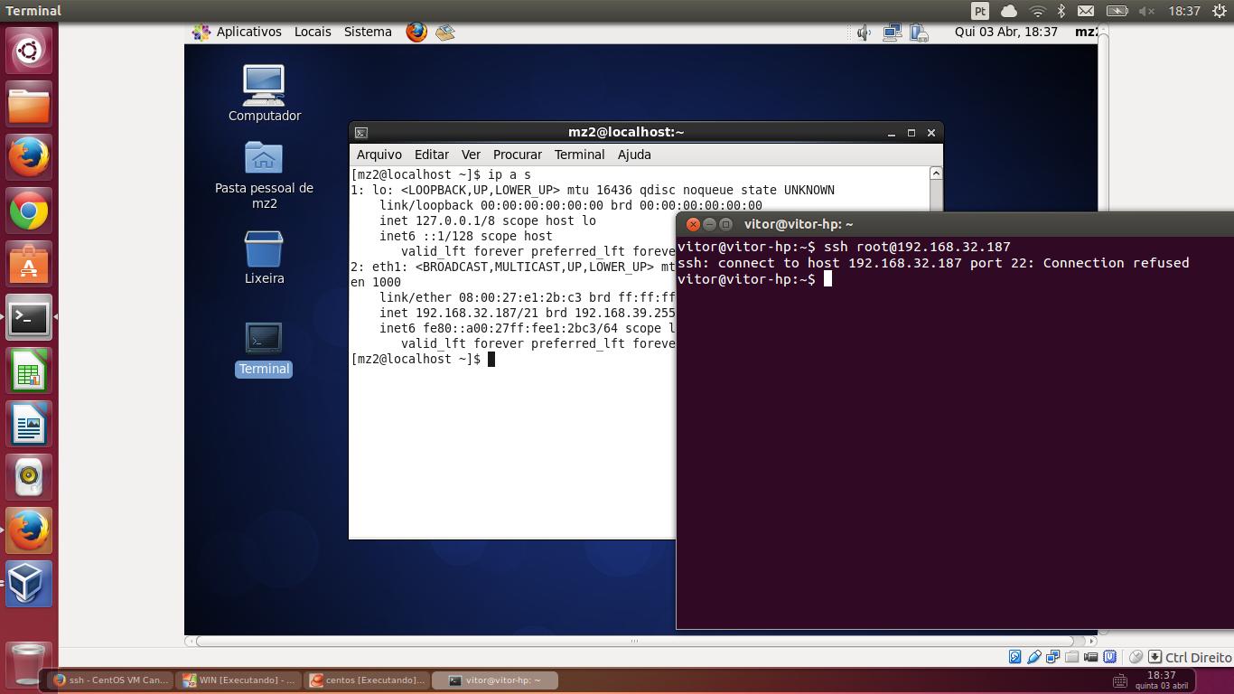 No funciona ssh en un VM Centos Servidor