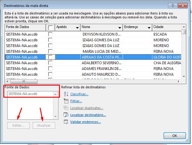 Mala Direta no WordxAccess não atualiza  Screenshot_5
