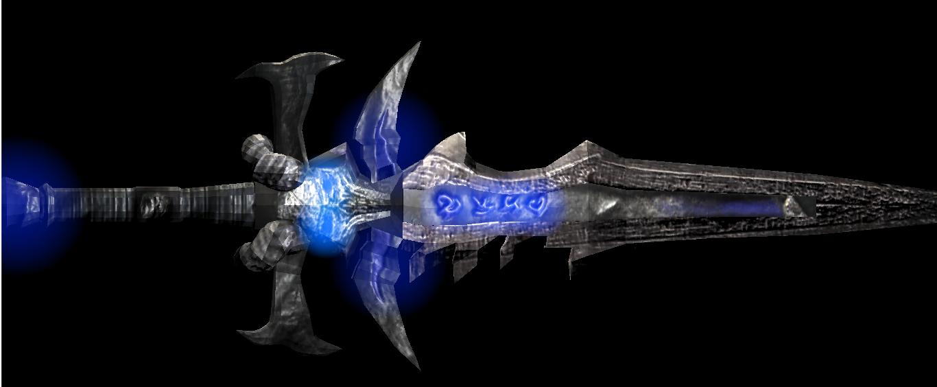 Dark blue sword RPG low poly Sword