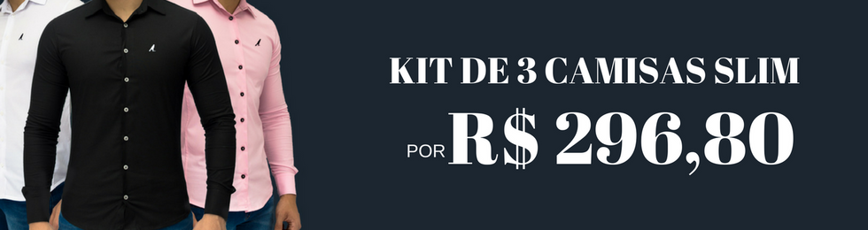 gravata slim kit 3 camisas