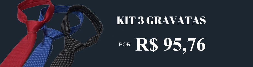 gravata slim kit 3 pecas
