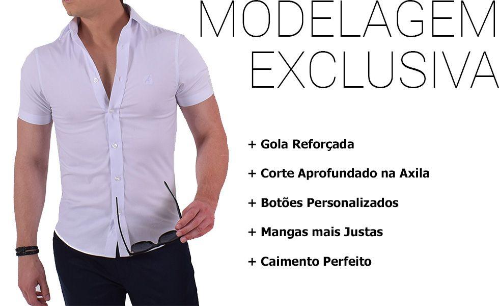 camisa social manga curta masculina modelagem exclusiva