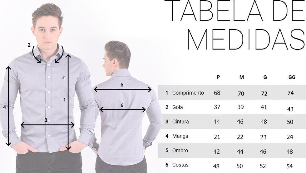 camisa social manga curta masculina tabela de medidas