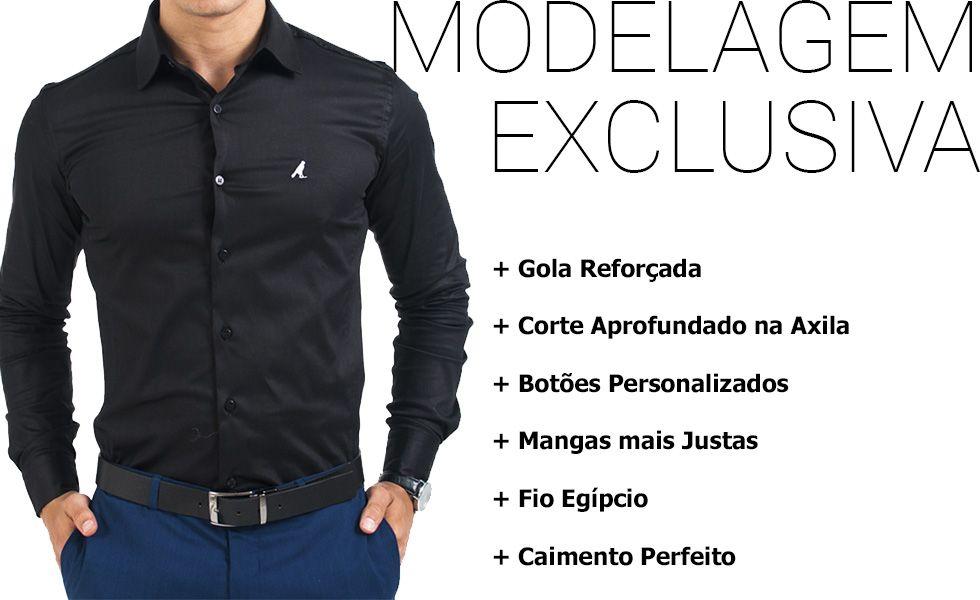 camisa social masculina super slim preta modelagem exclusiva