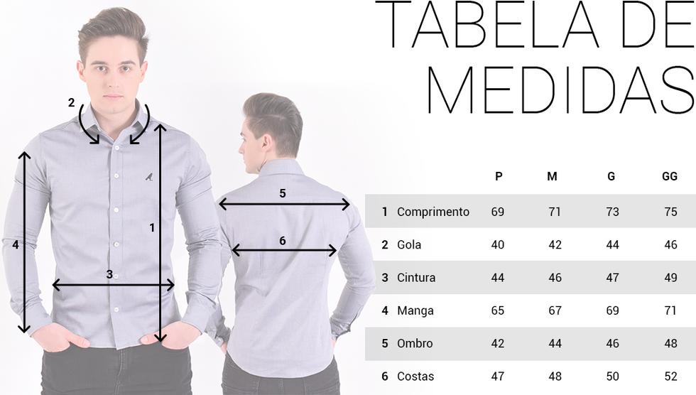 camisa social masculina super slim tabela de medidas