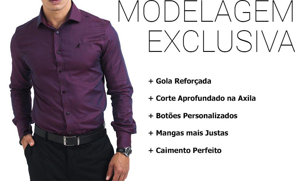 camisa social vinho masculina modelagem exclusiva