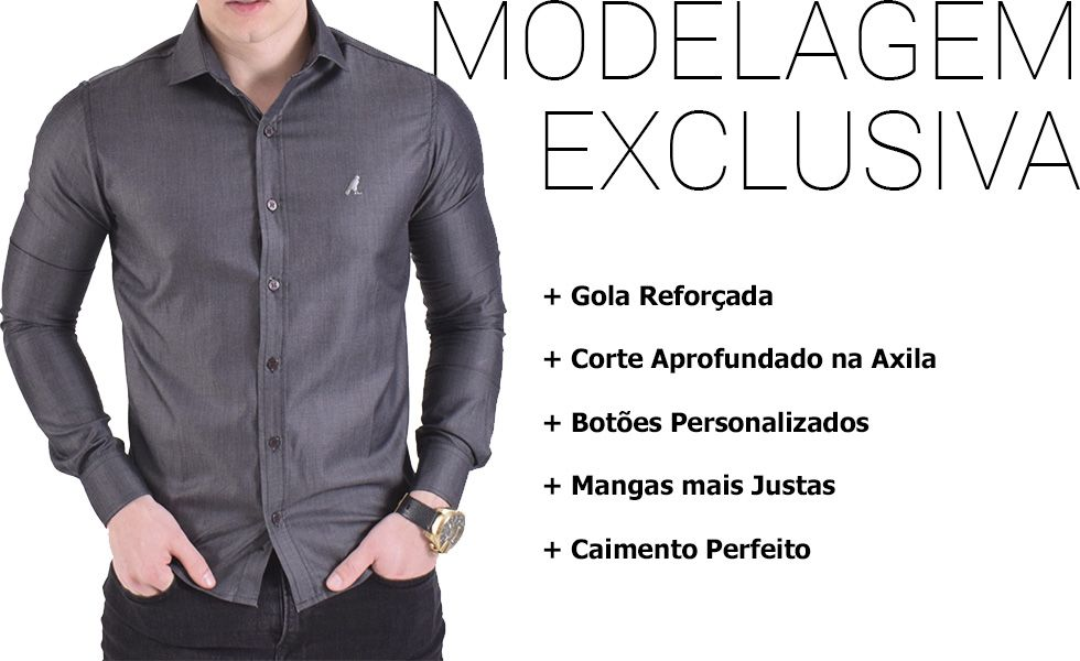 camisa social masculina modelagem exclusiva