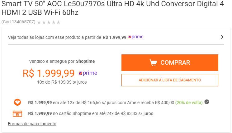 5d3fe1227 SHOPTIME  Smart TV 50   AOC 4k - 1.999