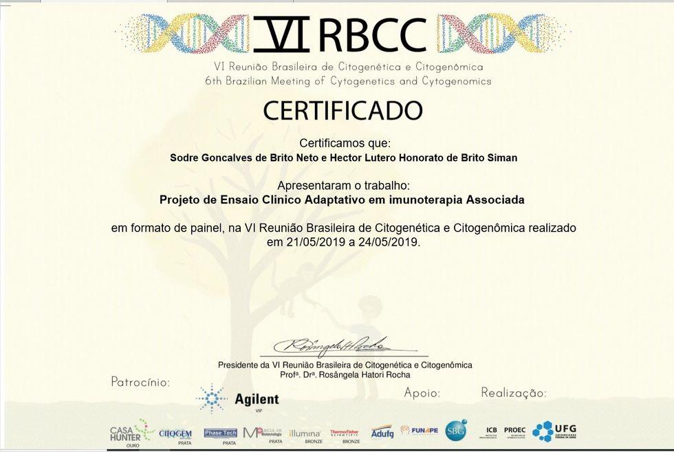 Certificado vi rbcc cancer