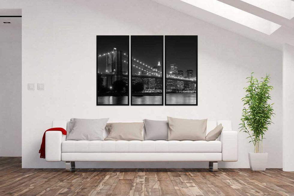 Kit de 3 quadros em preto e branco