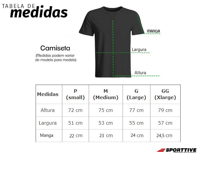 Tabela de medidas camisetas