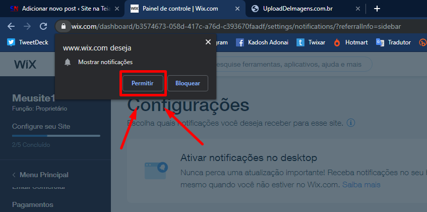 Desativar notificações - Wix
