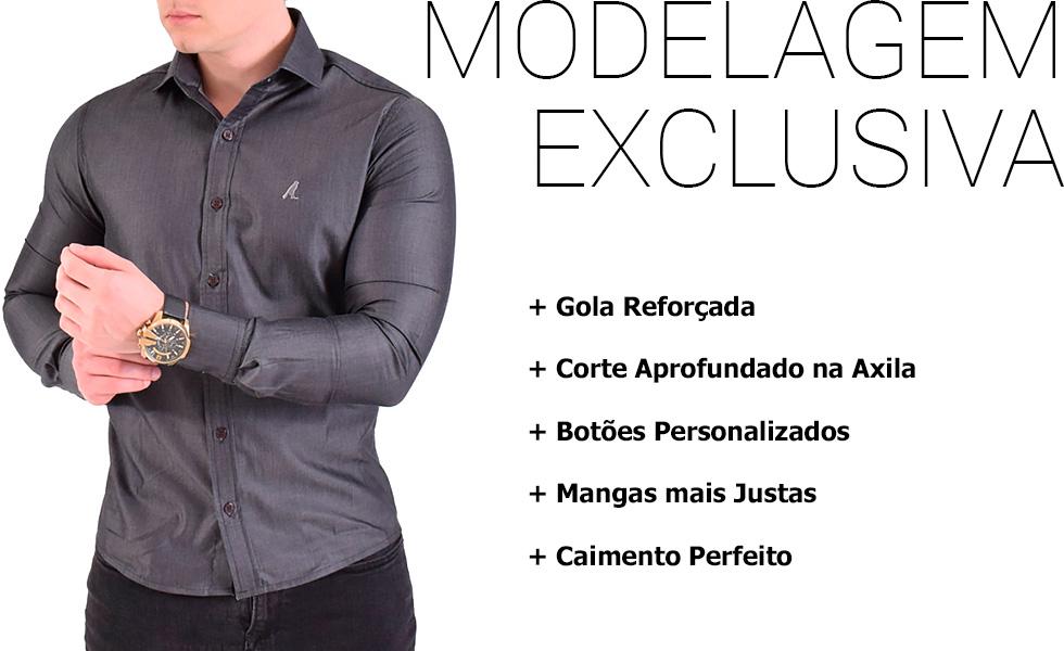 Camisa Social Preta Masculina Super Slim LVK