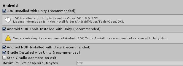 Qual versão do JDK, NDK E SDK o Unity Hub recomenda para Unity 2019.2.12f1 (64-bit)? Sdk