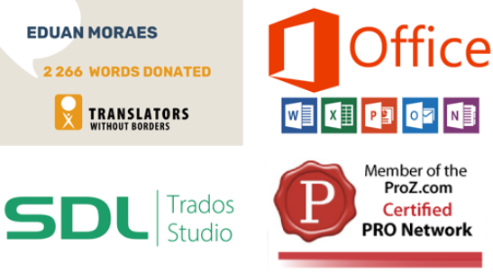 SDL Trados Studio, Proz.com Certified PRO, PRO Network, Microsoft Office, Translators Without Borders