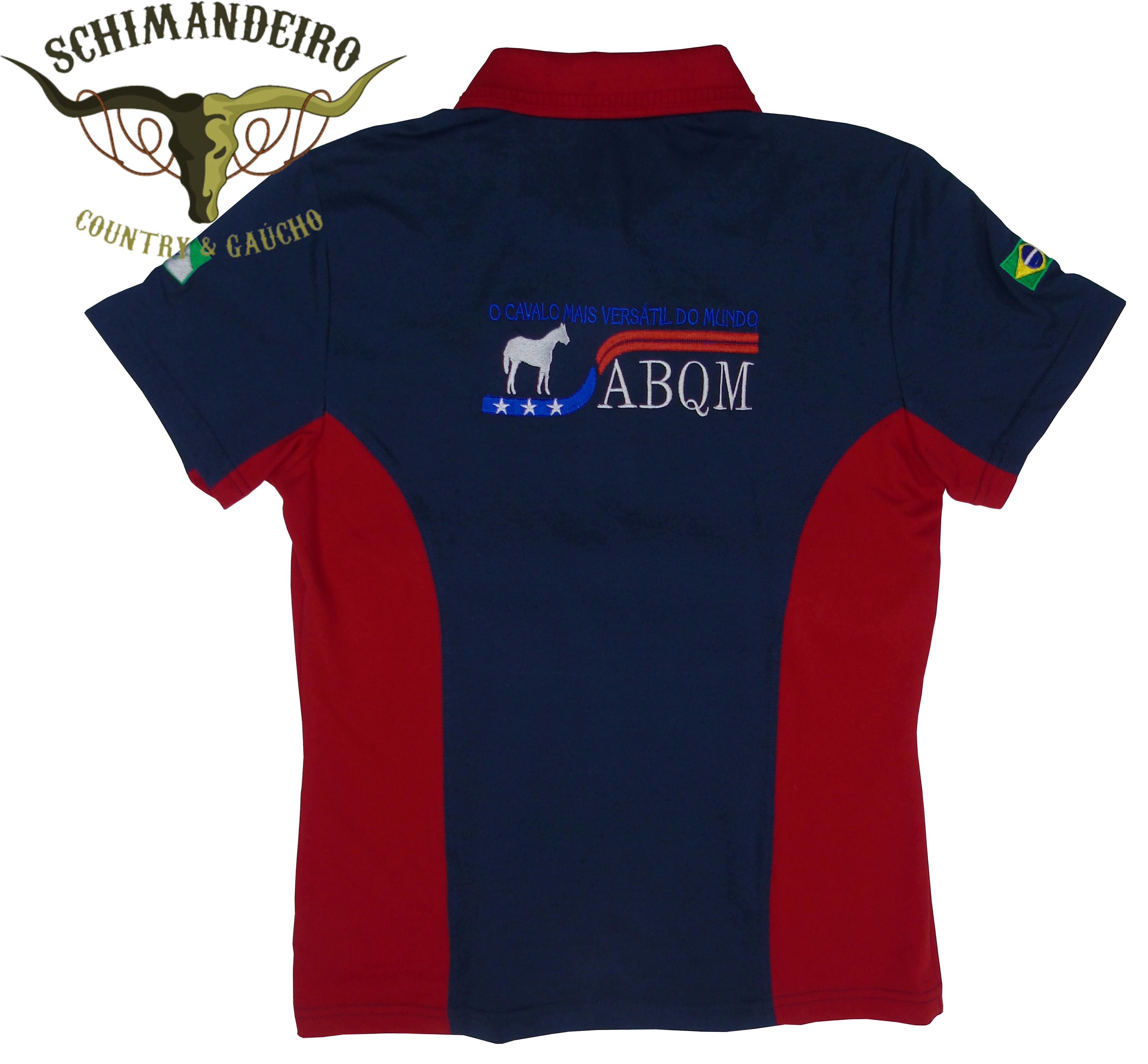 Polo Abqm Feminina Azul/vermelha